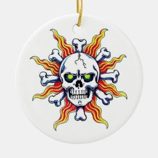 Cool cartoon tattoo symbol Skull sun bone Christmas Ornament