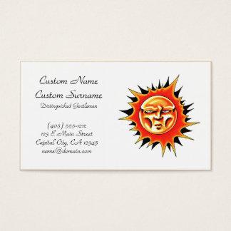 Cool cartoon tattoo symbol Sun Face Flame Business Card