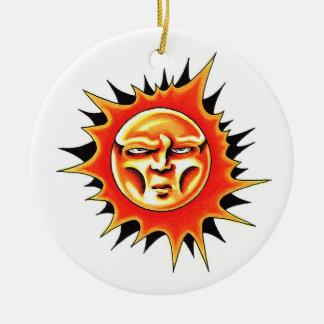 Cool cartoon tattoo symbol Sun Face Flame Ceramic Ornament