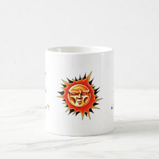 Cool cartoon tattoo symbol Sun Face Flame Coffee Mug