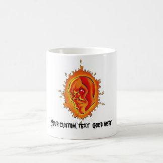 Cool cartoon tattoo symbol Sun face flame fire Coffee Mug