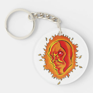Cool cartoon tattoo symbol Sun face flame fire Keychain
