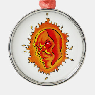 Cool cartoon tattoo symbol Sun face flame fire Ornament