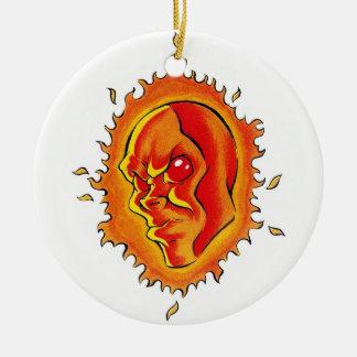 Cool cartoon tattoo symbol Sun face flame fire Christmas Tree Ornament