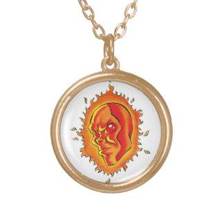 Cool cartoon tattoo symbol Sun face flame fire Round Pendant Necklace