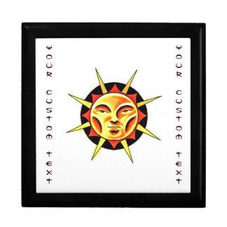 Cool cartoon tattoo symbol Sun Face Flame Keepsake Box