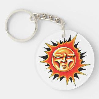 Cool cartoon tattoo symbol Sun Face Flame Keychain