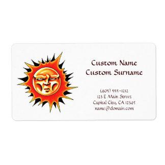 Cool cartoon tattoo symbol Sun Face Flame Shipping Label