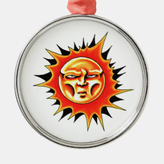Cool cartoon tattoo symbol Sun Face Flame Metal Ornament