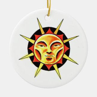Cool cartoon tattoo symbol Sun Face Flame Christmas Tree Ornament