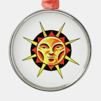 Cool cartoon tattoo symbol Sun Face Flame Christmas Tree Ornaments