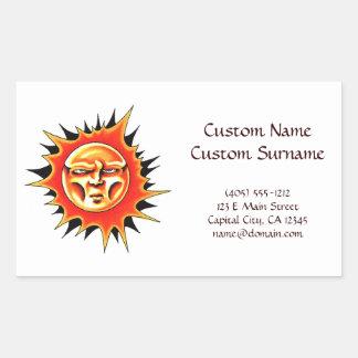 Cool cartoon tattoo symbol Sun Face Flame Rectangular Sticker