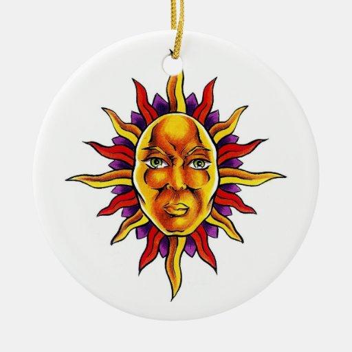 Cool cartoon tattoo symbol Sun face spikes Ornaments