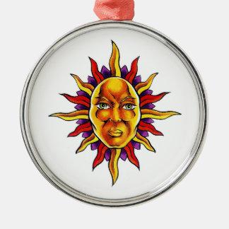 Cool cartoon tattoo symbol Sun face spikes Christmas Tree Ornament