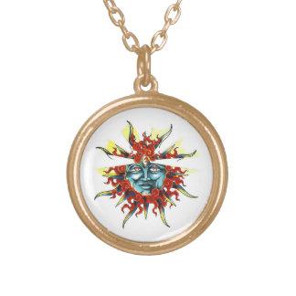 Cool cartoon tattoo symbol Sun god face Gold Plated Necklace