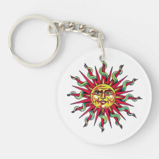 Cool cartoon tattoo symbol Sun God Face head Keychain