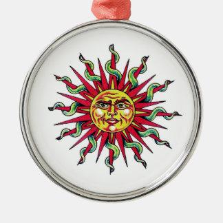 Cool cartoon tattoo symbol Sun God Face head Christmas Ornament