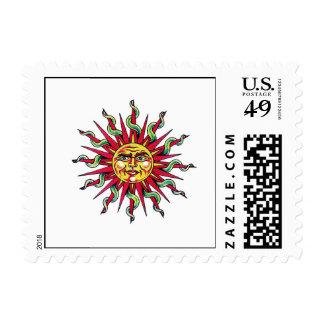 Cool cartoon tattoo symbol Sun God Face head Postage Stamps