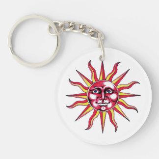 Cool cartoon tattoo symbol Sun God Face Keychain