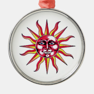 Cool cartoon tattoo symbol Sun God Face Christmas Ornament