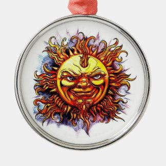 Cool cartoon tattoo symbol Sun God Face Christmas Tree Ornament