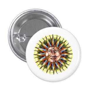Cool cartoon tattoo symbol Sun God Face Pinback Button