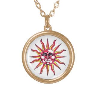 Cool cartoon tattoo symbol Sun God Face Round Pendant Necklace