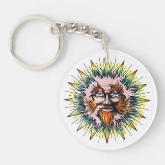 Cool cartoon tattoo symbol Sun Sage Face Keychain