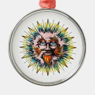 Cool cartoon tattoo symbol Sun Sage Face Christmas Ornaments