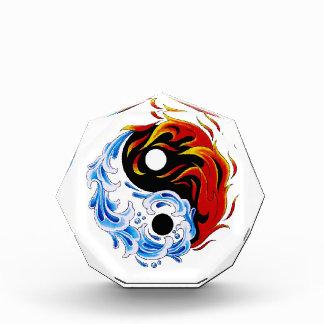 Cool cartoon tattoo symbol water fire Yin Yang Acrylic Award