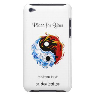 Cool cartoon tattoo symbol water fire Yin Yang Barely There iPod Cover
