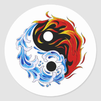 Cool cartoon tattoo symbol water fire Yin Yang Classic Round Sticker