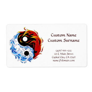 Cool cartoon tattoo symbol water fire Yin Yang Label
