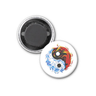 Cool cartoon tattoo symbol water fire Yin Yang Magnet