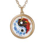 Cool cartoon tattoo symbol water fire Yin Yang Necklace