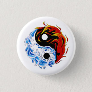 Cool cartoon tattoo symbol water fire Yin Yang Pinback Button
