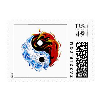 Cool cartoon tattoo symbol water fire Yin Yang Postage