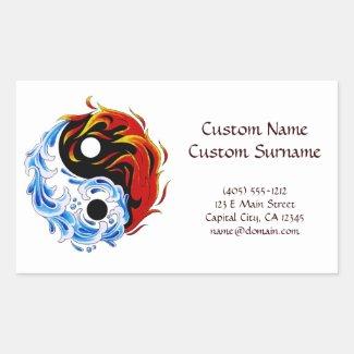 Cool cartoon tattoo symbol water fire Yin Yang Stickers