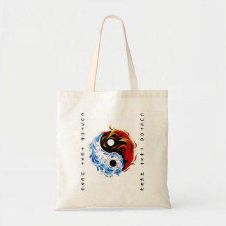 Cool cartoon tattoo symbol water fire Yin Yang Tote Bag