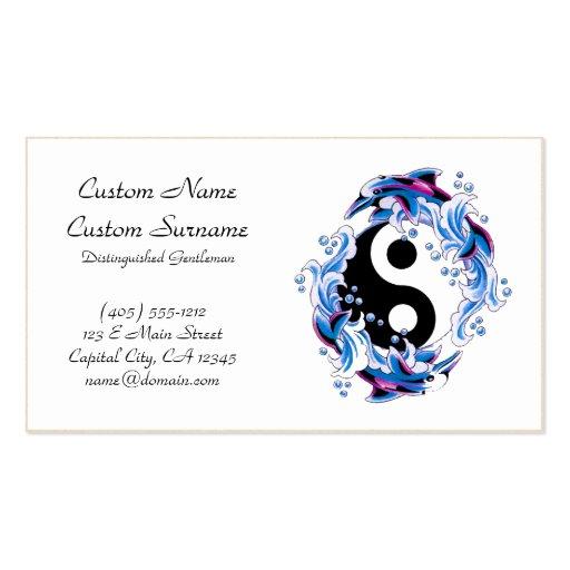 Cool cartoon tattoo symbol Yin Yang Dolphins Business Cards