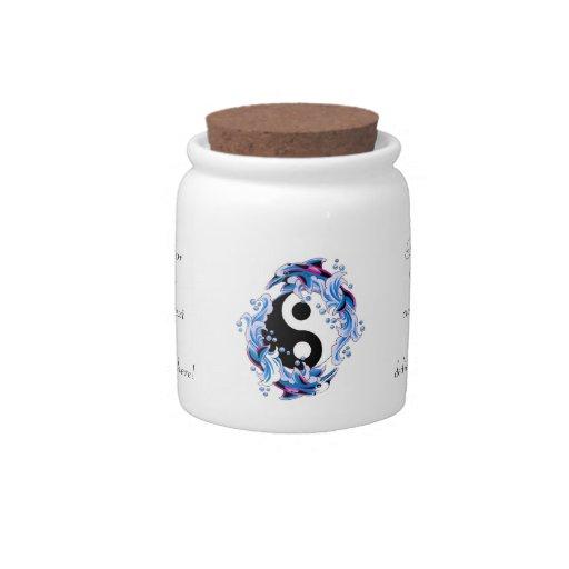 Cool cartoon tattoo symbol Yin Yang Dolphins Candy Jar