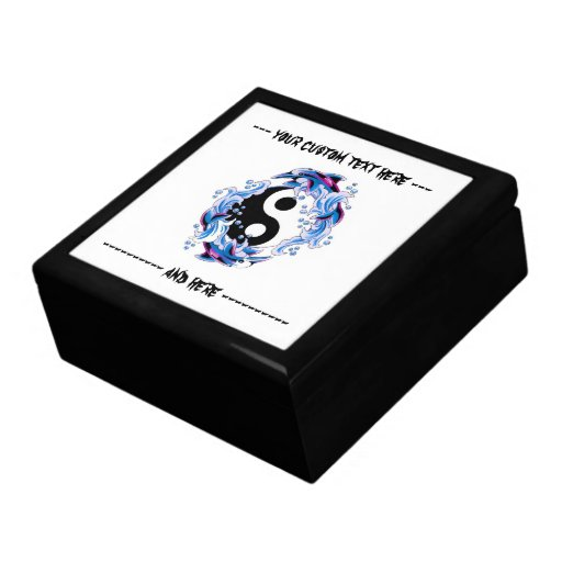 Cool cartoon tattoo symbol Yin Yang Dolphins Jewelry Boxes