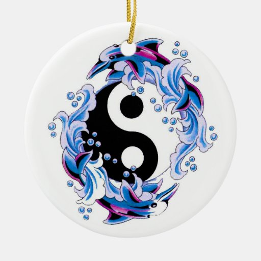Cool cartoon tattoo symbol Yin Yang Dolphins Christmas Tree Ornament