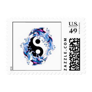 Cool cartoon tattoo symbol Yin Yang Dolphins Postage