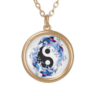 Cool cartoon tattoo symbol Yin Yang Dolphins Round Pendant Necklace