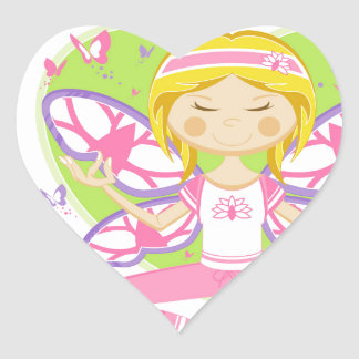 Cool Cartoon Yoga Girl Heart Sticker