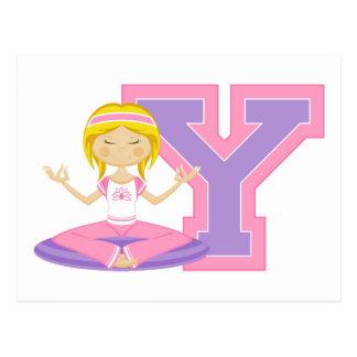Cool Cartoon Yoga Girl Postcard