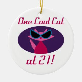 Cool Cat 21st Birthday Ceramic Ornament