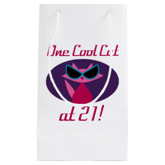 Cool Cat 21st Birthday Small Gift Bag