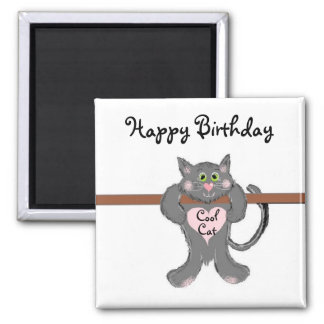 Cool Cat 2 Inch Square Magnet